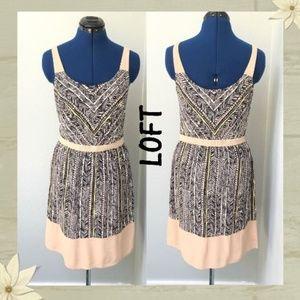 Loft Zebra Chevron Print Sleeveless Dress